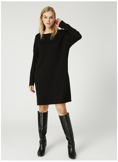 Fabrika Comfort Fabrika Comfort Kayık Yaka Siyah Elbise Siyah